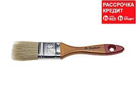 """Кисть плоская ЗУБР """"УНИВЕРСАЛ-МАСТЕР"""", натуральная щетина, деревянная ручка, 38мм (4-01003-038)"""