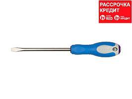 Отвертка шлицевая ЗУБР ПРОФИ, Cr-V сталь, трехкомпонентная рукоятка, цветовая индикация типа шлица, SL, 8,0x150мм, 25251-8.0-150