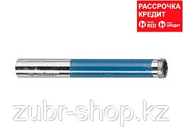 Сверло алмазное трубчатое по стеклу и кафелю, d=6 мм, зерно Р 100, ЗУБР Профессионал 29860-06 (29860-06)
