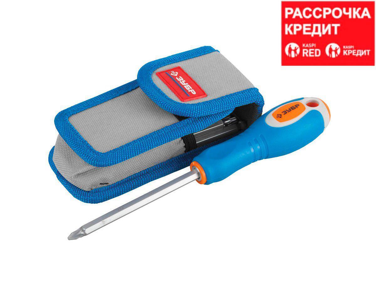 Набор инструментов отвертки ЗУБР 25297-H10, ЭКСПЕРТ, с двусторонними стержнями, HEX5-5 и HEX6-6 с шариком, чехол для ношения на поясе, 10 предметов
