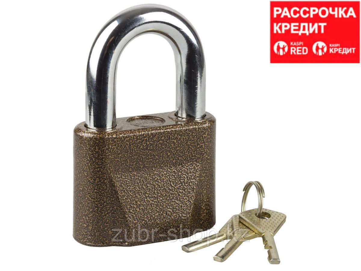 """Замок ЗУБР """"МАСТЕР"""" навесной, общего применения, дисковый механизм секрета, ключ 7 """"пинов"""", дужка d-14мм, 70мм (3720-1)"""