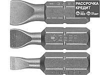Набор бит для шуруповерта ЗУБР 26009-SL-H3, биты  кованые, хромомолибденовая сталь, тип хвостовика C 1/4, 25 мм, SL4,5, SL5,5, SL8, 3 предмета