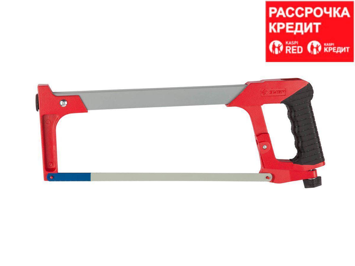 Ножовка по металлу ЗУБР 15774_z01, МАСТЕР, усиленная рамка, металлическая обрезиненная рукоятка, натяжение 80 кг, 300 мм