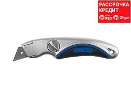 ЗУБР Профессионал ПРОФИ А24, универсальный нож с фиксированным лезвием, трап. лезвия А24 (09221)