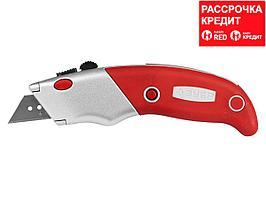 "Нож ЗУБР ""ЭКСПЕРТ"" с трапециевидным лезвием тип А24, автомат. фиксация лезвия, метал. корпус, кассета для хран. лезвий (0923_z01)"