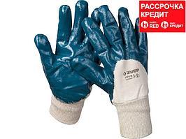 Перчатки ЗУБР МАСТЕР рабочие с манжетой, с нитриловым покрытием ладони, размер M (8), 11273-M