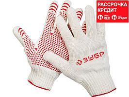 ЗУБР МАСТЕР, размер L-XL, 10 пар в упаковке, перчатки для тяжелых работ, х/б 7 класс, с ПВХ-гель покрытием (точка). (11392-K10)