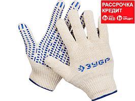 ЗУБР ТОЧКА+, размер S-M, перчатки с точками увеличенного размера, х/б 13 класс, с ПВХ-гель покрытием (точка) (11451-S)