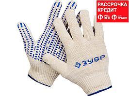 ЗУБР ТОЧКА+, размер L-XL, перчатки с точками увеличенного размера, х/б 13 класс, с ПВХ-гель покрытием (точка) (11451-XL)