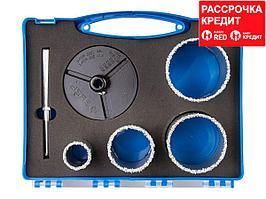 Набор буровых коронок с твердосплавным напылением ЗУБР 33350-H6, ЭКСПЕРТ, 33, 53, 67, 73 мм, 4 предмета