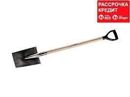 Лопата трапециевидная из нержавеющей стали, деревянный черенок, с рукояткой, ЗУБР Профессионал (4-39412_z01)