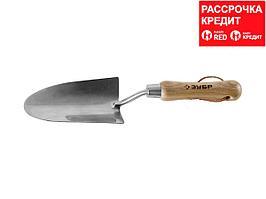"""Совок ЗУБР """"ЭКСПЕРТ"""" посадочный широкий из нержавеющей стали, деревянная ручка из ясеня, 150х85х335мм (4-39463_z01)"""
