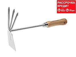"""Мотыжка ЗУБР """"ЭКСПЕРТ"""" комбинированная из нерж. стали, деревянная ручка из ясеня, прямое лезвие + 3 зубца, 190х80х330мм (4-39472)"""