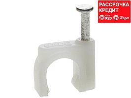 Скоба-держатель круглая СД-К 7 мм, 50 шт, с оцинкованным гвоздем, ЗУБР Профессионал (45111-07)