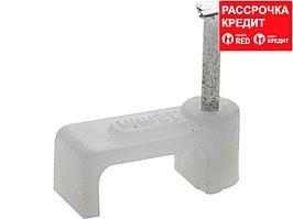 Скоба-держатель прямоугольная СД-П, 12 мм, 40 шт, с оцинкованным гвоздем ЗУБР Профессионал (45112-12)