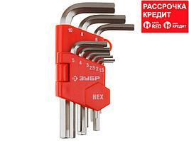 """Набор ЗУБР Ключи """"МАСТЕР"""" имбусовые короткие, Cr-V, сатинированное покрытие, пластик. держатель, HEX 1,5-10мм, 9 пред (27460-1_z02)"""