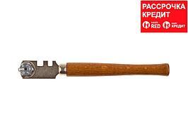 """Стеклорез STAYER """"PROFI"""" роликовый, 6 режущих элементов, с деревянной ручкой (3365_z01)"""