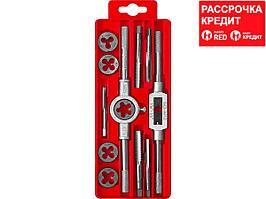 ЗУБР 12 предметов, набор метчиков и плашек в пластиковом боксе, сталь 9ХС (28121-H12)