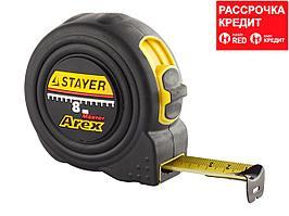 STAYER AREX 8м / 25мм рулетка в ударостойком полностью обрезиненном корпусе и двумя фиксаторами (3410-08_z01)