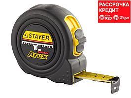 STAYER AREX 10м / 25мм рулетка в ударостойком полностью обрезиненном корпусе и двумя фиксаторами (3410-10_z01)