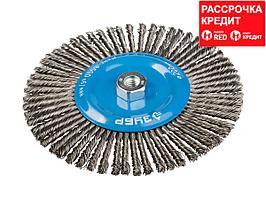 Щетка крацовка дисковая для УШМ ЗУБР 35192-200_z01, ЭКСПЕРТ, плетеные пучки стальной проволоки 0,5 мм, 200 мм/ М14