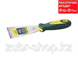Шпательная лопатка KRAFTOOL с 2-компонент ручк, профилиров нержав полотно, 65мм (10035-065)