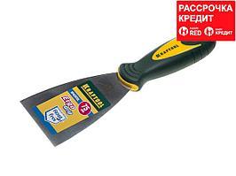 Шпательная лопатка KRAFTOOL с 2-компонент ручк, профилиров нержав полотно, 75мм (10035-075)