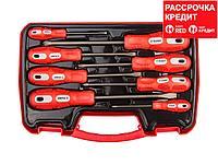 Набор инструментов отвертки ЗУБР 25235-H8, МАСТЕР, хромованадиевая сталь, эргономичная двухкомпонентная рукоятка, 8 предметов