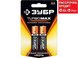 Батарейка АА алкалиновая ЗУБР 59206-2C, TURBO MAX щелочная, 1,5 В, 2 штуки на карточке