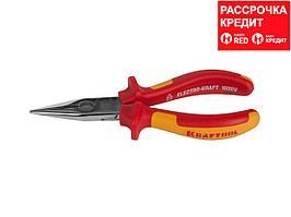 """Тонкогубцы """"ELECTRO-KRAFT"""", Cr-Mo сталь, двухкомпонентная маслобензостойкая рукоятка, хромированное покрытие, 160мм. KRAFTOOL 2202-3-16"""