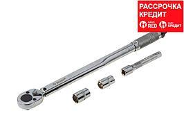 """Ключ динамометрический, 1/2"""", 42 - 210 Нм, с торцовыми головками 17, 19 мм и удлинителем 125мм, ЗУБР 64094-H4 (64094-H4)"""