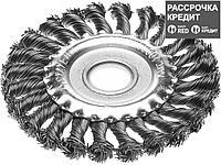 """STAYER """"PROFESSIONAL"""". Щетка дисковая для УШМ, жгутированная стальная проволока 0,5мм, 150ммх22мм (35120-150)"""