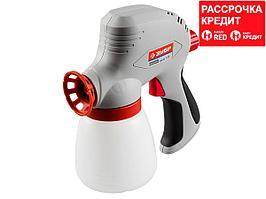 Краскопульт (краскораспылитель) электрический, ЗУБР ЗКПЭ-120, краскоперенос 300 мл/мин, вязкость краски 60 DIN, 0.8л, 120Вт (ЗКПЭ-120)
