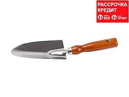Совок GRINDA посадочный широкий из нержавеющей стали с деревянной ручкой, 290 мм (8-421111_z01)