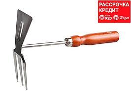 Мотыжка GRINDA прямое лезвие, из нержавеющей стали с деревянной ручкой, 3 зубца, 250 мм (8-421135_z01)