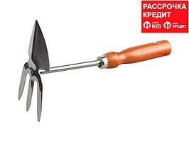 Мотыжка GRINDA сердцевидное лезвие, из нержавеющей стали с деревянной ручкой, 3 зубца, 250 мм (8-421139_z01)