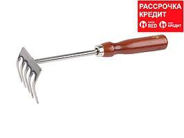 Грабельки GRINDA из нержавеющей стали с деревянной ручкой, 250 мм (8-421149_z01)
