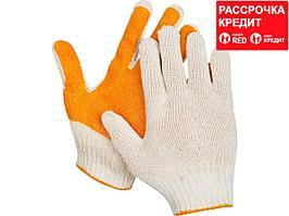 """ЗУБР ПРОТЕКТОР, размер S-M, перчатки с увеличенной площадью ПВХ-гель покрытия """"протектор"""", х/б 10 класс. (11452-S)"""