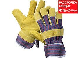 """Перчатки STAYER """"MASTER"""" рабочие комбинированные кожаные из спилка с тиснением, XL (1131-XL)"""