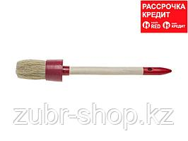 "Кисть круглая STAYER ""MASTER"", светлая натурал. щетина, пластм. корпус, деревян. ручка, №12 x45мм (0141-45)"