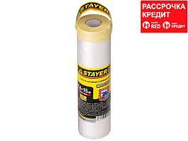 """Пленка STAYER """"PROFESSIONAL"""" защитная с клейкой лентой """"МАСКЕР"""", HDPE, 9мкм, 1,4х15м (12255-140-15)"""
