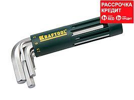 Набор KRAFTOOL: Ключи имбусовые короткие, Cr-Mo сталь, держатель-рукоятка, HEX 2-10мм, 8 пред (27430-1_z01)