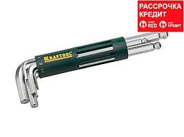Набор KRAFTOOL: Ключи имбусовые длинные с шариком, Cr-Mo сталь, держатель-рукоятка, HEX 2-10мм, 8 пред (27431-2_z01)