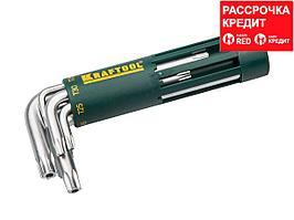 Набор KRAFTOOL: Ключи имбусовые короткие, Cr-Mo сталь, держатель-рукоятка, TORX Hole, T10-T50, 8 пред (27433-1_z01)