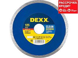 CLEAN AQUA CUT 125 мм, диск алмазный отрезной сплошной по керамограниту, мрамору, плитке, DEXX (36703-125_z01)