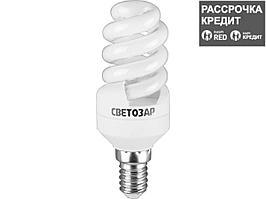 Энергосберегающая лампа, СВЕТОЗАР, КОМПАКТ спираль,цоколь E14(миньон),Т2,теплый белый свет(2700 К), 10000час, 9Вт(45), 44351-09_z01