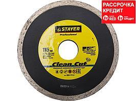 Clean Cut 115 мм, диск алмазный отрезной сплошной по керамограниту, мрамору, плитке, STAYER Professional (3664-115_z01)