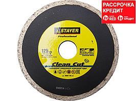 Clean Cut 125 мм, диск алмазный отрезной сплошной по керамограниту, мрамору, плитке, STAYER Professional (3664-125_z01)