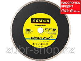 Clean Cut 230 мм, диск алмазный отрезной сплошной по керамограниту, мрамору, плитке, STAYER Professional (3664-230_z01)
