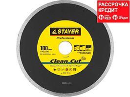 Clean Cut 180 мм, диск алмазный отрезной сплошной по керамограниту, мрамору, плитке, STAYER Professional (3665-180_z01)